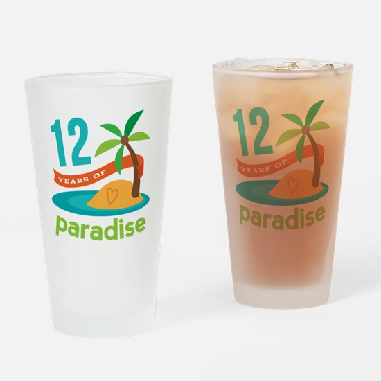 12th Anniversary Paradise Drinking Glass