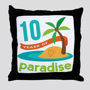 10th Anniversary Paradise Throw Pillow