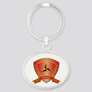 USMC - HQ Bn - 3rd Marine Division Oval Keychain