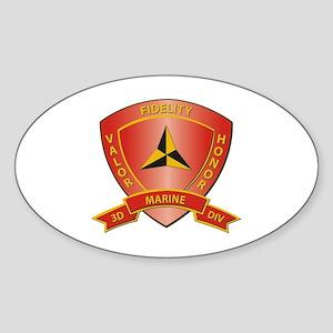 USMC - HQ Bn - 3rd Marine Division Sticker (Oval)
