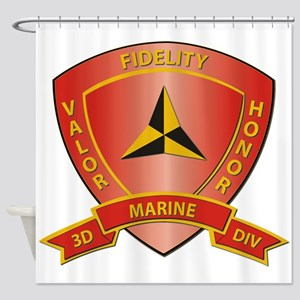 USMC - HQ Bn - 3rd Marine Division Shower Curtain