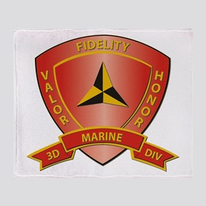 USMC - HQ Bn - 3rd Marine Division Throw Blanket