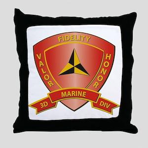 USMC - HQ Bn - 3rd Marine Division Throw Pillow