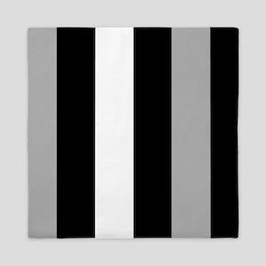Grey Black And White Stripes Queen Duvet