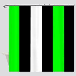 Neon Green Black And White Stripes Shower Curtain