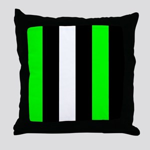 Neon Green Black And White Stripes Throw Pillow