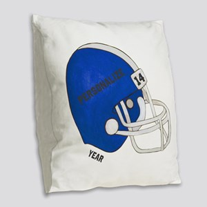 Personalized Football Helmet Burlap Throw Pillow