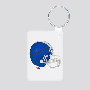 Football Helmet Aluminum Photo Keychain