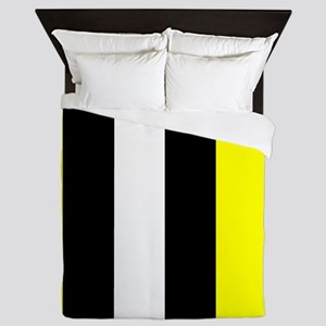 Yellow Black And White Stripes Queen Duvet