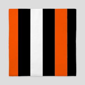 Orange Black And White Stripes Queen Duvet