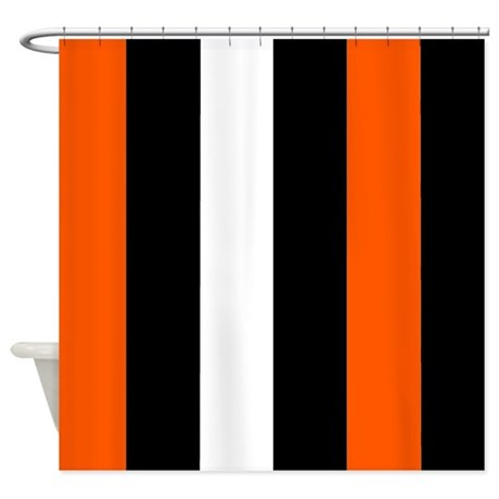 Orange Black And White Stripes Shower Curtain By CoolCutePatterns