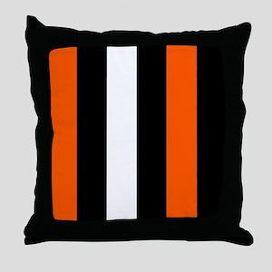 Orange Black And White Stripes Throw Pillow