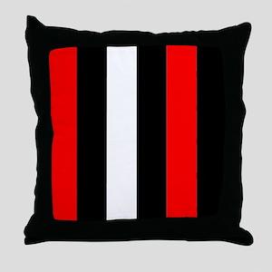 Red Black And White Stripes Throw Pillow