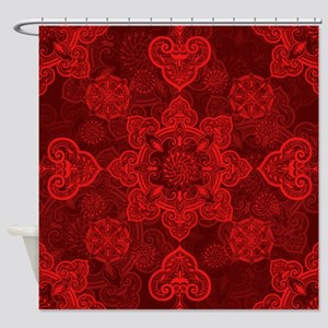 Asian Red Musing Shower Curtain