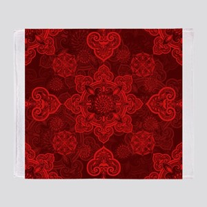 Asian Red Musing Throw Blanket