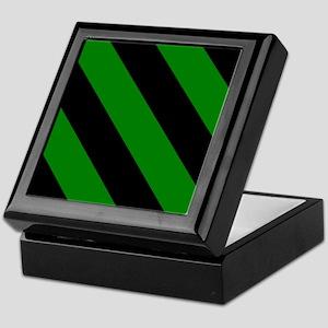 Black And Green Barber Stripes Keepsake Box