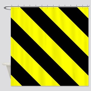 Black And Yellow Barber Stripes Shower Curtain