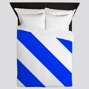 White And Blue Barber Stripes Queen Duvet