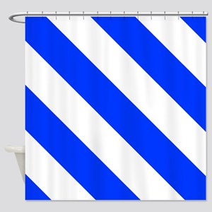 White And Blue Barber Stripes Shower Curtain