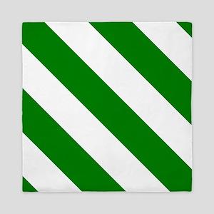White And Green Barber Stripes Queen Duvet