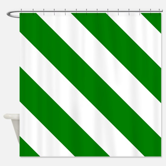 White And Green Barber Stripes Shower Curtain