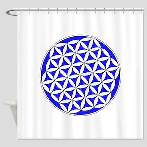 Flower Of Life Blue Shower Curtain