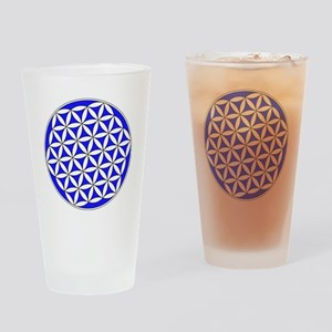 Flower Of Life Blue Drinking Glass