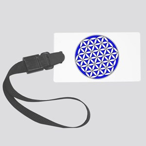 Flower Of Life Blue Luggage Tag