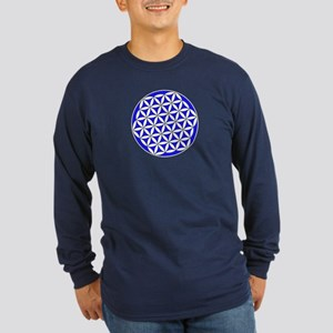 Flower Of Life Blue Long Sleeve T-Shirt