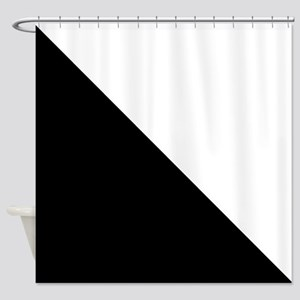 Black And White Halves Shower Curtain