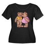 Teddy Love Women's Plus Size Scoop Neck Dark T-Shi