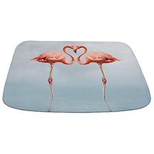 Pink Flamingos In Love Bathmat