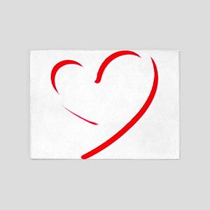 Brushstroke heart 5'x7'Area Rug