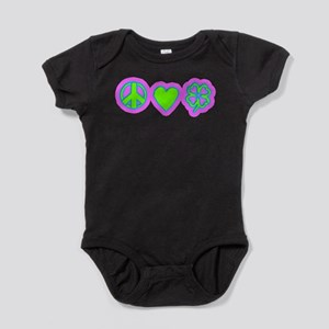 Irish Peace Love Lucky Shamrock Baby Bodysuit