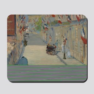Edouard Manet - The Rue Mosnier with Fla Mousepad