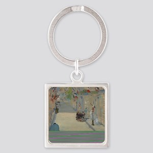 Edouard Manet - The Rue Mosnier wi Square Keychain