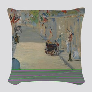 Edouard Manet - The Rue Mosnie Woven Throw Pillow