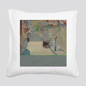 Edouard Manet - The Rue Mosni Square Canvas Pillow