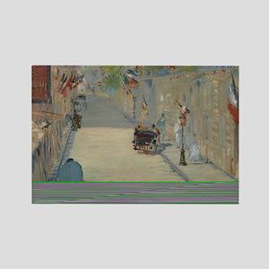 Edouard Manet - The Rue Mosnier w Rectangle Magnet