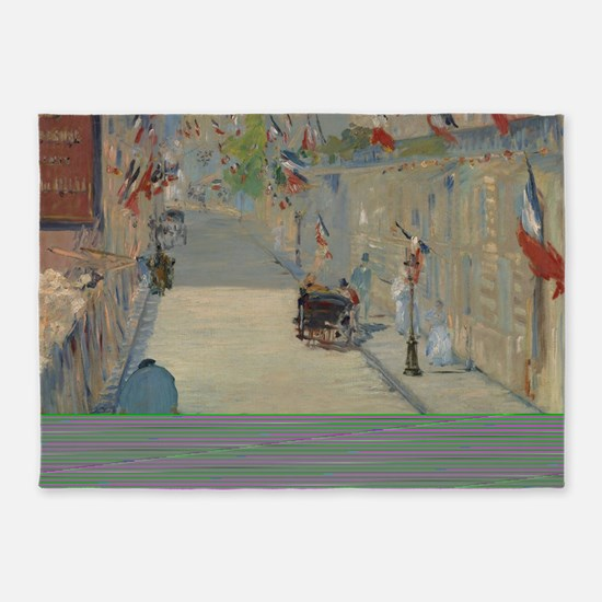 Edouard Manet - The Rue Mosnier wit 5'x7'Area Rug