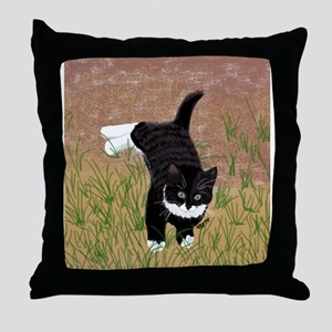 Mustache Kitten Throw Pillow