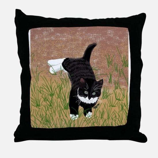 Mustache Kitten Throw Pillow