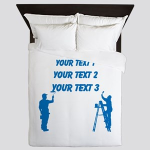 Painters and Blue Text Queen Duvet