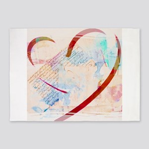 Brushstroke heart and text 5'x7'Area Rug