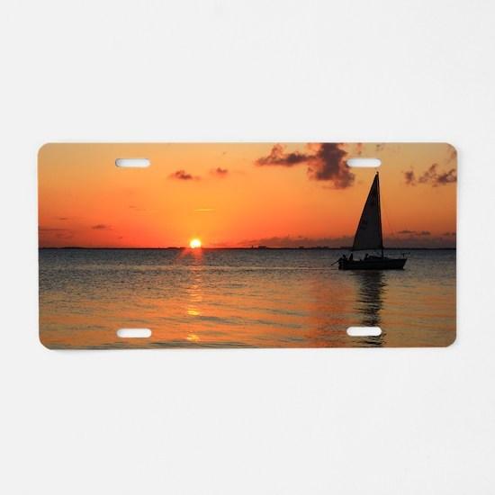 Sunset Sail Aluminum License Plate