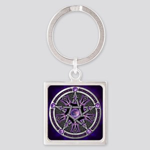 Purple Moon Pentacle Keychains