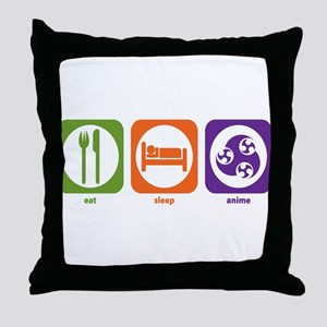 Eat Sleep Anime Throw Pillow