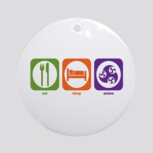 Eat Sleep Anime Ornament (Round)