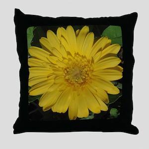 Yellow floral Gerber daisy  Throw Pillow