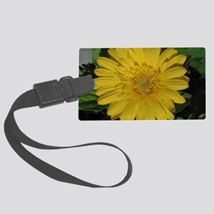 Yellow floral Gerber daisy  Large Luggage Tag